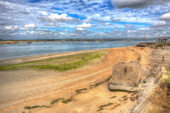 Langstone harbour Hayling Island near Portsmouth UK in colourful hdr Stock Photography