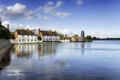 Langstone Quay. Pretty cottages adn an old mill on the quay at Langstone on the Hampshire coast royalty free stock images