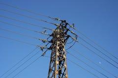 Langstreckenhochspannungsenergiefreileitungsmast lizenzfreies stockbild