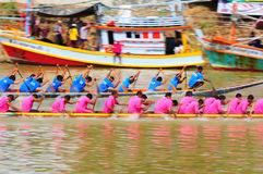 Langsuan Traditional Long Boat racing festival, Thailand. Chumphon, Langsuan, Thailand, 31 October – 4 November 2012: Langsuan Traditional Long Boat stock image
