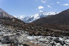 Langtand valley trekking mountain in Nepal. View of Himalaya in Langtang trek valley Stock Image