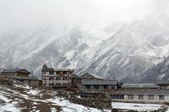Langtang Village, Nepal. Langtang in the Himalaya, Nepal. Before it was destroyed by an avalanche during the 2015 earthquake stock photos