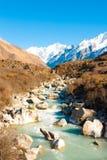 Langtang Gangchenpo Mountain Peak River Landscape Stock Image