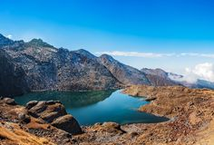 Langtang gosainkunda湖全景 免版税库存图片