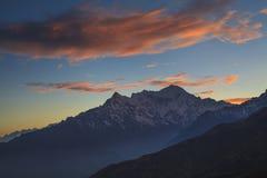 Langtang Lirung at sunset Stock Photo