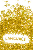 Language. Word language made of pasta letters on white background, vertical photo Royalty Free Stock Photography