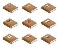 Language books. Isometric language books with flags, isolated on white Royalty Free Stock Photography