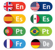Language Buttons. Set of 8 Language buttons, flat style. CMYK vector Ai10 EPS included as additional format Stock Image