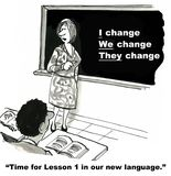 The Language of Change. Cartoon shows a classroom of business students learning about the language of change from the business instructor who is standing at a Stock Photo