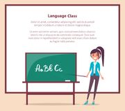 Language Class at School Banner with Text Vector. Language class in primary school banner with place for text. Teacher stands near blackboard with pointer and Royalty Free Stock Photo