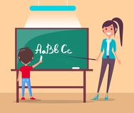 Language Class in Primary School Vector Banner. Royalty Free Stock Photo