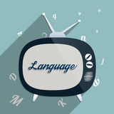 Language. Concept for e-learning, global communication, the power of knowledge, education and the power of reading. Flat design illustration Royalty Free Stock Photos