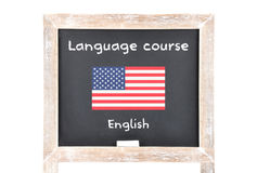 Language course with flag on board. Colorful and crisp image of language course with flag on board Stock Photo