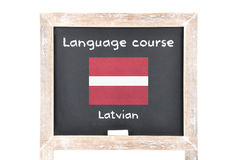 Language course with flag on board Royalty Free Stock Images