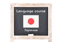 Language course with flag on board. Colorful and crisp image of language course with flag on board Stock Photos