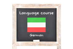 Language course with flag on board. Colorful and crisp image of language course with flag on board Stock Images