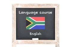 Language course with flag on board. Colorful and crisp image of language course with flag on board Royalty Free Stock Photo