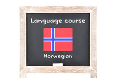 Language course with flag on board. Colorful and crisp image of language course with flag on board - Norwegian Royalty Free Stock Photos