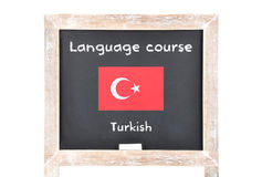 Language course with flag on board Stock Photography