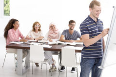 Language course in positive atmosphere Stock Image