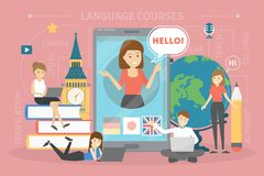 Language courses concept. Study foreign languages in school. Or university. English lesson. Flat vector illustration stock illustration