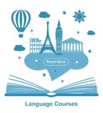 Language courses poster vector illustration