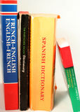 Language dictionaries. Different language dictionaries Stock Photography