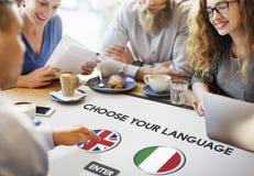 Language Dictionary English Italian Concept Stock Images