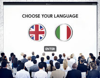 Language Dictionary English Italian Concept. Language Dictionary English Italian Meeting royalty free stock images
