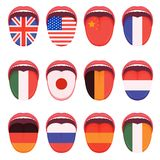 Language flag on human tongue, multilingual speak study. Vector illustration of a language flag on human tongue, multilingual speak study Stock Image