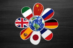 Language flower with international flags as petals, chalk draw Stock Images
