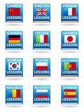 Language Icons. A set of 12 language icons in the form of books Stock Photos