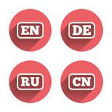 Language icons. EN, DE, RU and CN translation Royalty Free Stock Photo