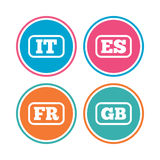 Language icons. IT, ES, FR and GB translation. Royalty Free Stock Photo