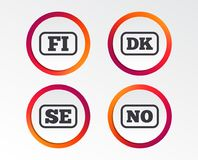 Language icons. FI, DK, SE and NO translation. Language icons. FI, DK, SE and NO translation symbols. Finland, Denmark, Sweden and Norwegian languages Royalty Free Stock Images