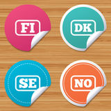 Language icons. FI, DK, SE and NO translation. Round stickers or website banners. Language icons. FI, DK, SE and NO translation symbols. Finland, Denmark Royalty Free Stock Photography