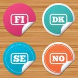 Language icons. FI, DK, SE and NO translation. Royalty Free Stock Photography