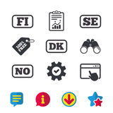 Language icons. FI, DK, SE and NO translation. Language icons. FI, DK, SE and NO translation symbols. Finland, Denmark, Sweden and Norwegian languages. Browser Stock Photo