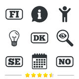 Language icons. FI, DK, SE and NO translation. Language icons. FI, DK, SE and NO translation symbols. Finland, Denmark, Sweden and Norwegian languages Royalty Free Stock Photos