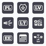 Language icons. PL, LV, LT and EE translation. Royalty Free Stock Photo