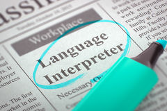 Language Interpreter Hiring Now. 3D. Royalty Free Stock Image