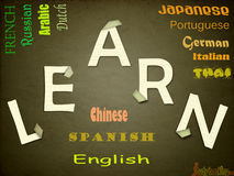 Language Learning. Different categories of languages are listed Royalty Free Stock Photos