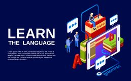 Language learning poster vector illustration vector illustration