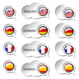 Language pointer for web - speech bubbles Stock Photography