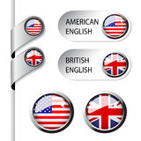 Language pointers with flag - American and British English Stock Images