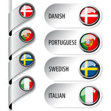 Language pointers with flag for web - set 2 Royalty Free Stock Photos