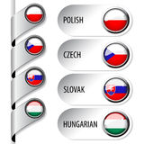 Language pointers with flag for web - set 5 Royalty Free Stock Photography