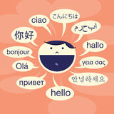 Language Savvy. Vector illustration of cartoon human male head greeting with various language Stock Photography