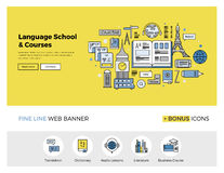 Language school flat line banner. Flat line design of web banner template with outline icons of foreign language translation service, online school of English Royalty Free Stock Photo