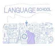 Language School Infographics. Vector Illustration. Language School Infographics. Hand drawn Vector Illustration Design for the web site, first page Stock Images